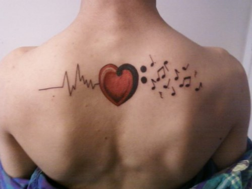 Music Notes and Heart Tattoos