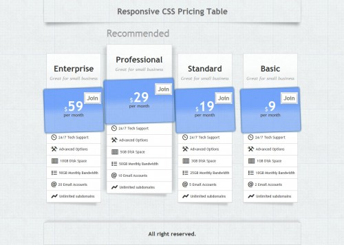 Responsive Pricing Table - Pure CSS