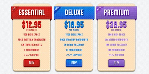 Retro CSS3 Pricing Tables