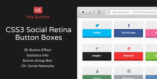 CSS3 Social Retina Button Boxes