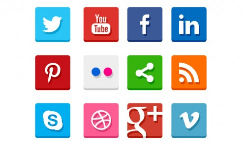 20 Simple Flat Social Media Icons