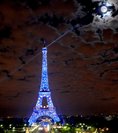 Wallpaper Eiffel Tower Full Moon