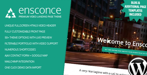 Ensconce - Responsive WordPress Video Landing Page