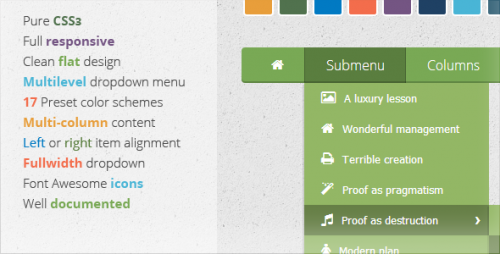 Wonderful CSS3 Flat Menu